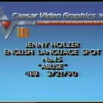 Jenny Holzer's English Language Spots, Green Table and interview footage