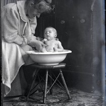 Baby in washbowl