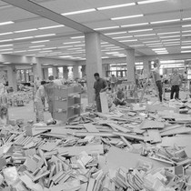 Library cleanup after 1989 Loma Prieta earthquake