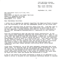 Donald P. Francis letter to Louis Sullivan with attached letter to James ...