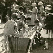Children attending the annual Grape Festival at the Kent Family home, circa ...