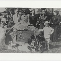 Unveiling of Indian Monument in Lincoln Park; Ishi in background