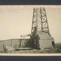 California Counties Oil Company derrick and cable way. Two tanks distillate and ...