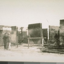 The walls of the bank after the fire
