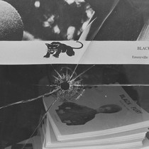 Bullet Hole in plate glass window of Black Panther Party National Headquarters, ...
