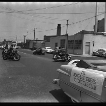 Berkeley Tigers Motorcycle Clubs riding in circle in street