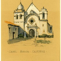 Carmel Mission, Carmel, Calif., colored pencil sketch, undated