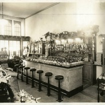 Interior of Dundus Pharmacy, 28 Bolinas Road, Fairfax, Marin County, California, circa ...