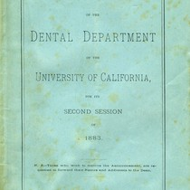 Announcement of the Dental Department of the University of California
