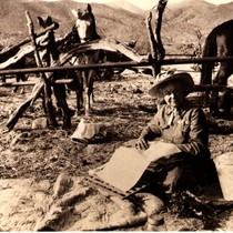 Alice Eastwood with plant press, Warner Hot Springs, San Diego County, 1913