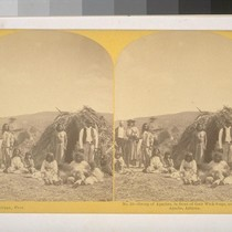Group of Apaches, in front of the Wick-8-ups [sic], near Camp Apache, ...