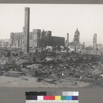 [Ruins and debris. St. Ignatius Church and College, center; City Hall in ...