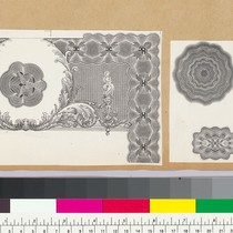 Album page with bank note and typographic vignettes of geometric patterns