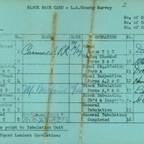 WPA block face card for household census (block 1007) in Los Angeles ...