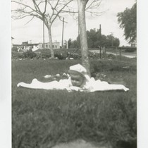 Angel Cabral in front yard, South Whittier, California