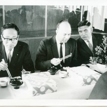Billy Smith, Joe Betts, and unidentified man at special luncheon