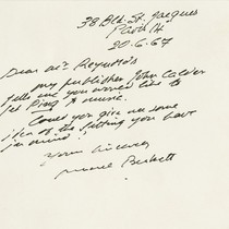 Ping: Correspondence: Postcard from Samuel Beckett to Roger Reynolds