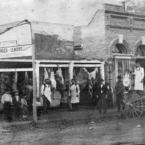 Butcher Shop of T. F. Allen on Third Street in San Bernardino, ...