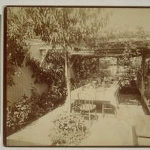 [Outdoor dining area. Residence of Isaiah West Taber. Photograph by Isaiah West ...