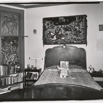 [Bedroom with baby on the bed, Oakland, California.]
