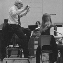 Aaron Copland conducts a class at California State University, Northridge (CSUN), May ...