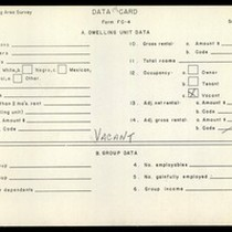 WPA Low income housing area survey data card 118, serial 13109, vacant