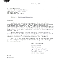 Discovery requests from bathhouse operators, with accompanying letter from City Attorney George ...