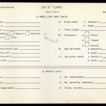 WPA Low income housing area survey data card 120, serial 20677, vacant