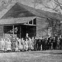 1860 First schoolhouse and social hall in Saratoga