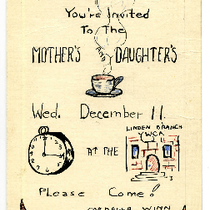 Invitation to the mother's and daughter's banquet at the Linden Branch Y.W.C.A