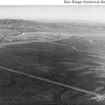 Aerial view of a curving road and two bridges at Mission Bay ...
