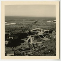 [Copper Spine House] aerial view of construction crane installing spine, Farrar, Phillip ...