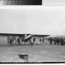 "Arrival of Charles Lindbergh and the ""Spirit of St. Louis"" at Mills ..."