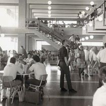 Students enjoying the cafeteria in the Student Union during its dedication