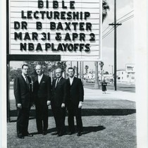 Group poses with marquee for Pepperdine Bible Lectures, 1963