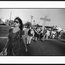 Anti-violence protesters from the Pasadena coalition walking, 1996