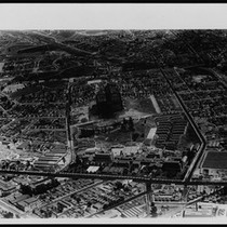 Aerial view of construction of the main building of Los Angeles County ...