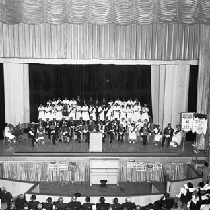 Aerial view of members of F.& A.M. and O.E.S. in theater hall
