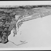 Aerial drawing of proposed improvements at the Port of Los Angeles, ca.1920
