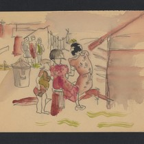 [Watercolor painting of children playing]