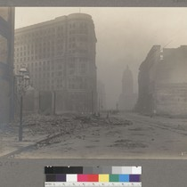 [Market Street littered with debris. Flood Building, center; Call Building in distance, ...