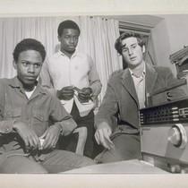 Draft Lottery. Shelton Bunn (#131), Roosevelt Alexander (#264), Mike Boland (#1), listening ...