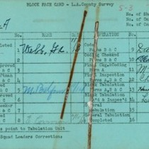 WPA block face card for household census (block 1151A) in Los Angeles ...