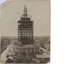 Completed tower framework of Oakland City Hall, August 1912