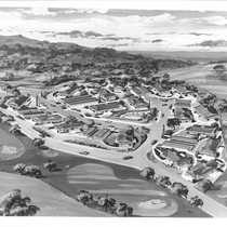 Architect's aerial drawing of Wikiup Greens condominiums, Santa Rosa, California, 1963