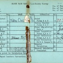 WPA block face card for household census (block 1852) in Los Angeles ...