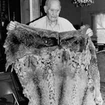 Chester Rose Holding Fur Robe from Deer Creek (Ishi Camp--1908)
