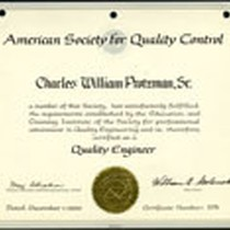 American society for quality control certificate, 1966-12-01