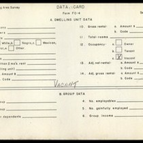 WPA Low income housing area survey data card 118, serial 6958, vacant