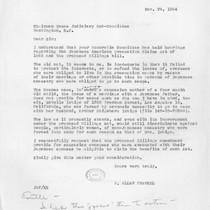 Letter, 1954 Nov. 29, to Chairman, House Judiciary Sub-Committee, Washington, D.C